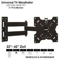 TV-Wandhalterung LCD LED Fernseher Wandhalter Wandhalterung Universal 22 - 42 Zoll Neigbar Schwenkbar VESA 200x200 100x100 75x75 max. 30kg von Vontech designed in Germany
