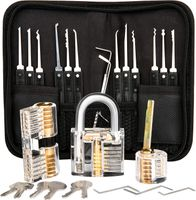Lockpicking Set Profi, Dietrich Set 26 tlg Lock Picking Set mit 3 Transparenttem Vorhängeschloss Dietrichen Kit für Anfänger und Professionelle Lockpicker