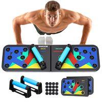 SGODDE 12 in 1 Push Up Board, Faltbare Multifunktionale Liegestütze Brett Fitness Geräte, Gym Home Muscle Builder Liegestützgriffe für Männer und Frauen