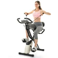 Merax Heimtrainer Fitnessbike 3-in-1 X-bike mit Expanderbändern und Handpulssensoren, Magnetische Faltbares Fitnessfahrrad mit 10 Widerstandsstufen, Fitnessgeräte, Max. Benutzergewicht 120 kg, Weiß