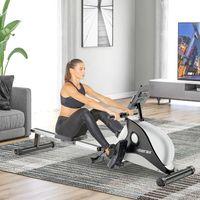 Merax Rudergerät Klappbar Rudermaschine Fitnessgeräte mit 8 Magnetwiderstandsstufen und LED-Display, leiser Magnetbremssystem und Aluminiumlegierungsrahmen, Max.Benutzergewicht 130kg, Schwarz