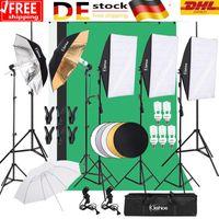 Fotostudio Set 3M / 9.8ft Studio Reflexschirm Beleuchtung Schirm Stativ Studioschirm Hintergrund Stützsystem Softbox Dauerlicht Regenschirm mit 2M-Stativ Fotohintergrund portables