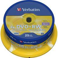 Verbatim Wiederbeschreibbare DVD - DVD+RW Rohling - 4,70 GB - 4x Schreibgeschwindigkeit - 25er Spindel - 120mm