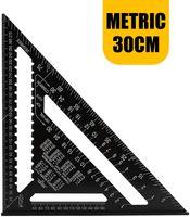 30 CM Metrisch Professionell Dreieck-Winkelmesser Aluminiumlegierung Dreieck Lineal Anschlagwinkel Messwerkzeug