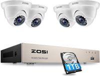 ZOSI 8CH H.265+ DVR mit 1TB Festplatte und 4x FHD 1080P Dome Überwachungskamera System für Innen und Außen, 24M IR Nachtsicht