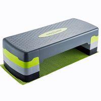 Aerobic Steppbrett Deluxe 3-Höhen - Profi Fitness Stepper Board XXL inkl. Anti-Rutsch-Matte