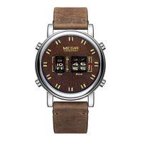 MEGIR 2137 Military Army Quartz Herrenuhr 3ATM wasserdicht Trommel-Typ Roller Armbanduhr Outdoor Sports Clock Armbanduhr mit Lederband (braun )