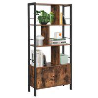 VASAGLE Bücherregal Bücherschrank mit 4 offenen Regalebenen stabiles Stahlgestell Industrie-Design vintagebraun-schwarz LBC022B01