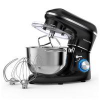 Küchenmaschine Knetmaschine 1400W, 5.5L Edelstahlschüssel Teigmaschine, mit Rührbesen, Knethaken, Schlagbesen