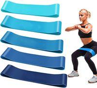 Fitnessbänder, Resistance Hip Bands, Fitnessbänder Widerstandsbänder Trainingsbänder Set mit 5 Verschiedene Zugkraftstärken Bänder für Beintraining, Krafttraining und Klimmzüge
