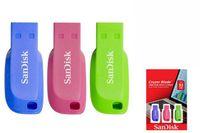 Sandisk USB Stick Cruzer Blade USB Flash Drive 3pack 32GB, Typ-A, 2.0, Ohne Deckel, Blau, Grün, Pink