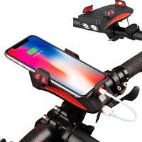 [4000 mAh] 3-in-1 Handyhalter Fahrradlicht Handyhalterung Reiten Frontlicht Lautsprecher Fahrrad Handyhalterung Lampe Laden Schatz Feste Halterung【Orange】