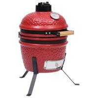 vidaXL 2-in-1 Kamado-Grill Smoker Keramik 56 cm Rot