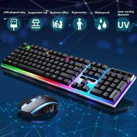 Beleuchtete Windows PS4 Gaming Tastatur und Maus Combo Box Schwimmendes Design Hohe Haltbarkeit, lange Lebensdauer Schwarz