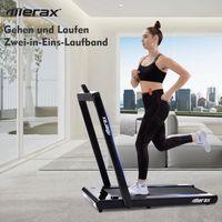 Merax Laufband Laufbänder 2,25 PS  elektrisch  klappbar Lauftraining Fitnessgerät 12 km/h, 2-in-1- Laufband mit Fernbedienung und LED-Anzeige, Belastbar bis 120kg, Schwarz