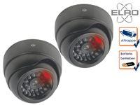 2er Set Dome Kamera Attrappe LED Blitzlicht - Fake Dummy Überwachungskamera