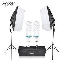 Andoer Fotostudio Cube Umbrella Softbox Licht Beleuchtung Zelt Bausatz Foto Video-Ausrüstung 2 * 135W Lampe 2 * Stativ stehen 2 * Softbox 1 * Tragetasche für Portrait-Produkt