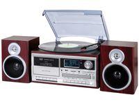 Stereo Plattenspielersystem mit Digital DAB / DAB Empfänger + Bluetooth-Encoding, Kassette, Fernbedienung in holzoptik TT 1073