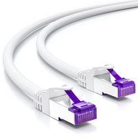 deleyCON 20m RJ45 Patchkabel Ethernetkabel Netzwerkkabel mit CAT7 Rohkabel S-FTP PiMF Schirmung Gigabit Lan Kabel SFTP Kupfer DSL Switch Router Patchpanel - Weiß