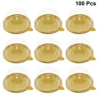 100 stücke Runde Kunststoff Eigelb Puff Container Transparent Mooncake Dome Boxen Backen Verpackung Box (Golden Tray)