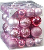Weihnachtskugeln Ribbel Mix Kunststoff, 50er Set, Farbe:Rosa-Mix ( rosa - hellrosa )