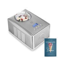 Springlane Eismaschine Emma 1,5 L mit selbstkühlendem Kompressor 150 W, aus Edelstahl mit entnehmbarem Eisbehälter, inkl. Rezeptheft Silber/Weiß