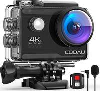 COOAU Action Cam HD 4K 20MP WiFi mit externem Mikrofon Unterwasserkamera 40M mit Fernbedienung EIS Stabilisierung Kamera Wasserdicht 170° Weitwinkel Time Lapse / 2 Batterien 1200mAh/Zubehör