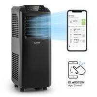 Klarstein Pure Blizzard Smart 7k mobile Klimaanlage , 3-in-1: Klimaanlage/Luftentfeuchter/Ventilator , 7000 BTU / 2,1 kW , WiFi: App-Steuerung , EEC A , 21-34 m² , inkl. Fensterabdichtung , 24-h-Timer , Schlaf-Modus , Fernbedienung , schwarz