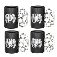 Knuckleduster Schwarz 2er-Set Keramik Schlagring Tasse