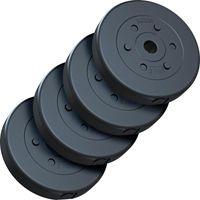 ScSPORTS® 20 kg Hantelscheiben Set Kunststoff 4 x 5 kg Gewichte, 30/31 mm Bohrung Scheibenset, Kunststoffscheiben, Hantelscheibenset