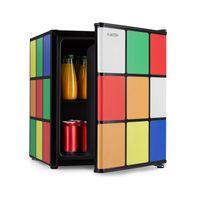 Klarstein Solve Mini-Kühlschrank ,Minibar ,thermoelektrisches Kühlsystem ,48 Liter Fassungsvermögen ,mechanischer Drehregler ,Kühlung: 0 bis 10 °C , ,geräuscharm: 39 dB ,Gitterboden ,Zauberwürfel-Design ,schwarz/bunt