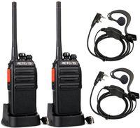 Retevis RT24 Walkie Talkie PMR446 Lizenzfreies, Professionelles Funkgerät mit Großer Reichweite und Freisprech-Walkie-Talkies für Erwachsene mit Ohrhörern und USB-Ladegerät (Schwarz, 1 Paar)