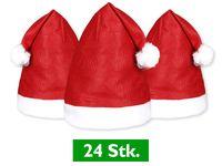 24 Stück Weihnachtsmützen Nikolausmützen mit Bommel 32