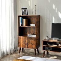 VASAGLE Retro Bücherregal mit 2 Ablagen und Türen aus Holz 120 x 60 x 30 cm Bücherschrank Holzoptik Vintage LBC09BX