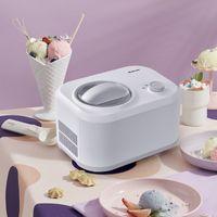 COSTWAY 1L Eiscrememaschine, 100W Eismaschine, Speiseeisbereiter 3 Modi, Yogurtbereiter Frozen Eiscreme-Bereiter mit eingebautem Kompressor, Löffel (Weiß)