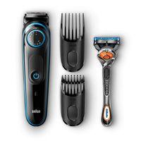 BRAUN BT 5040 BeardTrimmer inkl. Gillette Flexball, Farbe:Schwarz/Blau