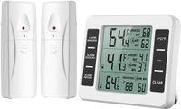 Kühlschrank Thermometer Gefrierschrank Thermometer, Kühlschrankthermometer Innen und Außen Thermometer mit 2 Sensoren, Temperatur Alarm, MIN / MAX, Temperaturtrendanzeige Pfeil
