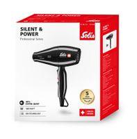 Solis Silent & Power 449 Föhn - 3 Temperatur- und 2 Gebläsestufen - Kaltluft-Taste - Ionen Haartrockner - Schwarz