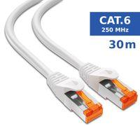 mumbi LAN Kabel 30m CAT 6 Netzwerkkabel geschirmtes F/UTP CAT6 Ethernet Kabel Patchkabel RJ45 30Meter, weiss