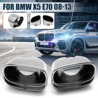 2X Für BMW X5 E70 08-13 Edelstahl Auspuff Blende Massiv Endrohr Tuning Chrom