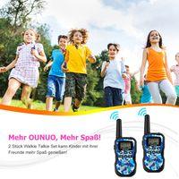 OUNUO Walkie Talkie Kinder Spy-Gear Spielzeuge Funkgeräte【2019 neues Modell】8 Kanäle 4KM Reichweite 10 Klingeltöne LCD Bildschirm eingebaute Taschenlampe 2 Stück (Tarnung Blau)