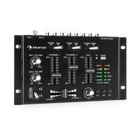 auna TMX-2211 MKII DJ-Mixer Mischpult  , 3/2-Kanal  , 2 x 6,3-mm-Mic-In  , 2 x RCA-LineIn mit Phono-Switch  , RCA-AuxIn  , Crossfader  , Talkover Funktion  , Kopfhörer-Ausgang mit Cue Funktion  , Rack-Einbau  , schwarz