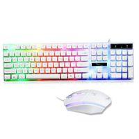 Tastatur Gaming Keyboard Maus Set Regenbogen Gamer LED USB für PC Laptop Windows Mac PS4 Pro Weiß