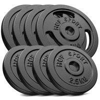 Hop-Sport 30kg Gusseisen Hantelscheiben 30 mm - Gewichte Hantel Sets zur Auswahl: 2x5kg+2x10kg / 4x2,5kg+4x5kg / 8x1,25kg+4x2,5 kg+2x5kg