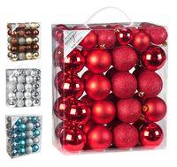 Weihnachtskugeln Mix Kunststoff, 50er Set, Farbe:rot
