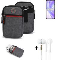 K-S-Trade Gürtel-Tasche + Kopfhörer kompatibel mit Xiaomi Mi 11 Lite 5G Handy-Tasche Holster Schutz-hülle grau Zusatzfächer 1x