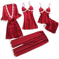 5Pcs Frauen Sexy Spitze Nachtwäsche Unterwäsche Anzug Babydoll Nachtwäsche Hosen Kleid||rot