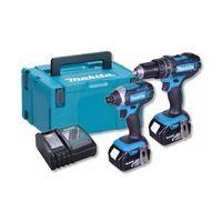 Makita DLX2131JX1, Kabelloser Schlagbohrschrauber, 3,8 cm, 36 Nm, 600 RPM, 1900 RPM, Schwarz, Blau