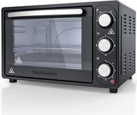 THOMSON Minibackofen 20l - freistehender Backofen klein (Grill Ofen + Konvektomat), Mini Ofen elektrisch, kleiner Ofen für Brötchen, Hähnchen etc., Schwarz