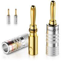 deleyCON Bananenstecker 4er Set Vergoldet Schraubbar für Lautsprecherkabel von 0,75mm - 4mm & z.B. HiFi Receiver